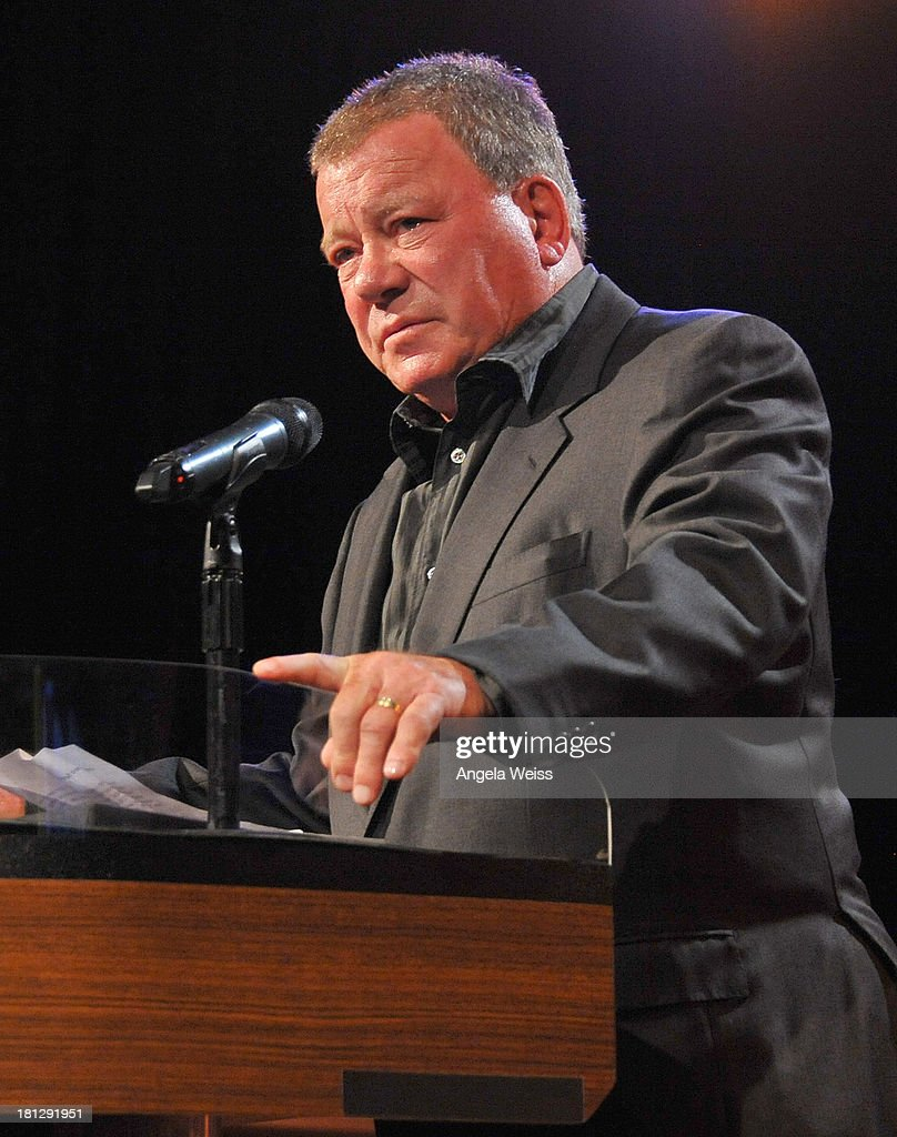 Actor <a gi-track='captionPersonalityLinkClicked' href=/galleries/search?phrase=William+Shatner&family=editorial&specificpeople=202461 ng-click='$event.stopPropagation()'>William Shatner</a> attends the 12th Annual Heller Awards at The Beverly Hilton Hotel on September 19, 2013 in Beverly Hills, California.