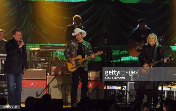 Actor William Shatner Honoree Brad Paisley and Rock Legend Joe Walsh perform during the 2011 CMT Artists of the year celebration at the Bridgestone...