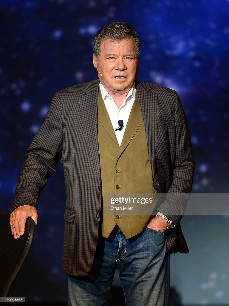 Actor <a gi-track='captionPersonalityLinkClicked' href=/galleries/search?phrase=William+Shatner&family=editorial&specificpeople=202461 ng-click='$event.stopPropagation()'>William Shatner</a> performs during his one-man show, 'Shatner's World: We Just Live In It' at the MGM Grand Hotel/Casino on June 19, 2014 in as Vegas, Nevada.