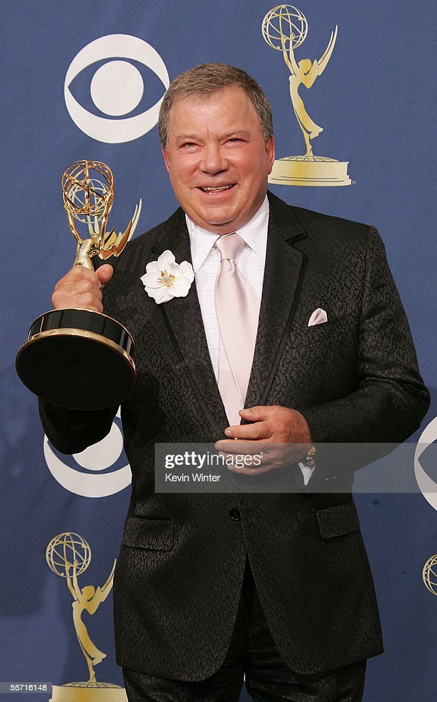 Actor William Shatner poses with the Emmy for Best Supporting Actor in a Drama Series for the ABC show 'Boston Legal' in the press room at the 57th...