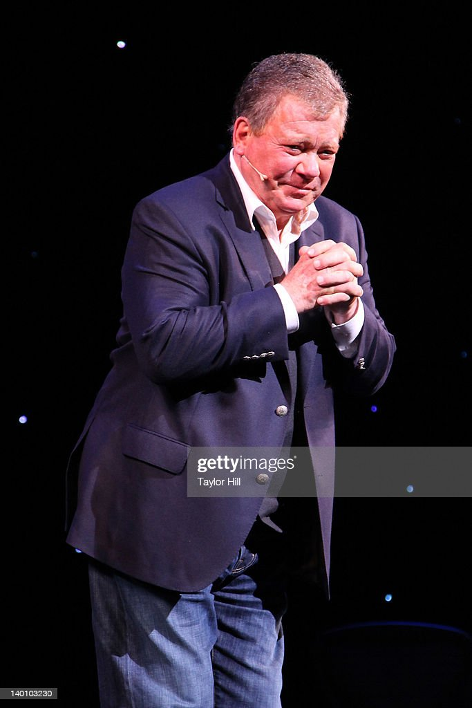 Actor <a gi-track='captionPersonalityLinkClicked' href=/galleries/search?phrase=William+Shatner&family=editorial&specificpeople=202461 ng-click='$event.stopPropagation()'>William Shatner</a> takes a bow during the curtain call of 'Shatner's World: We Just Live In It' at the Music Box Theatre on February 27, 2012 in New York City.
