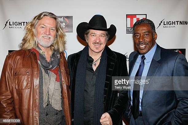 Actor William ShockleyKix Brooksand actor Ernie Hudson attend the 'Ambush At Dark Canyon' premiere at the Country Music Hall of Fame and Museum on...
