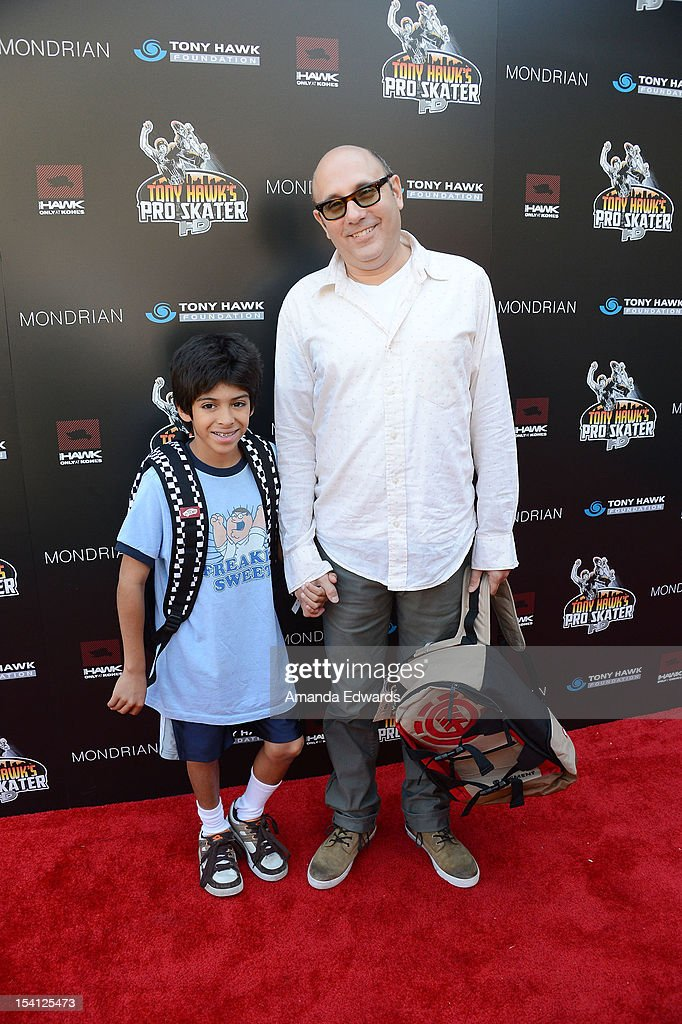Actor Willie Garson (R) and his son Nathen Garson arrives at the 9th Annual Stand Up For Skateparks Benefiting The Tony Hawk Foundation at a private residence on October 7, 2012 in Beverly Hills, California.