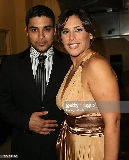 Actor Wilmer Valderrama and Angelica Vale backstage during the 8th Annual Latin GRAMMY Awards at Mandalay Bay on November 8 2007 in Las Vegas Nevada