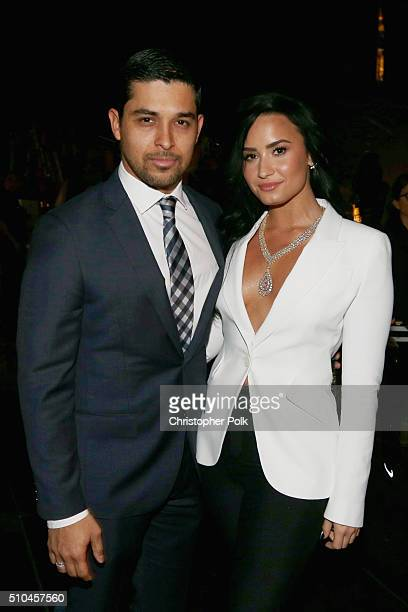 Actor Wilmer Valderrama and singer Demi Lovato attend The 58th GRAMMY Awards at Staples Center on February 15 2016 in Los Angeles California