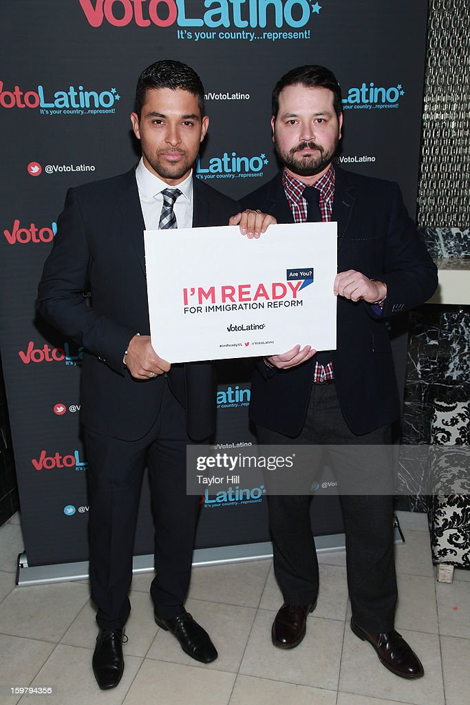 Actor <a gi-track='captionPersonalityLinkClicked' href=/galleries/search?phrase=Wilmer+Valderrama&family=editorial&specificpeople=202028 ng-click='$event.stopPropagation()'>Wilmer Valderrama</a> and Voto Latino Vice-Chair Brandon J. Hernandez attend Voto Latino's 2013 Inauguration Celebration at Oya Restaurant on January 20, 2013 in Washington, DC.