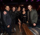 Actor Wilmer Valderrama Casper Smart actress/recording artist Jennifer Lopez recording artists Demi Lovato and Nick Jonas attends Jennifer Lopez's...