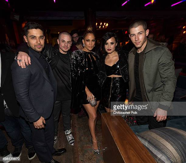 Actor Wilmer Valderrama Casper Smart actress/recording artist Jennifer Lopez recording artists Demi Lovato and Nick Jonas attends Jennifer Lopez's...