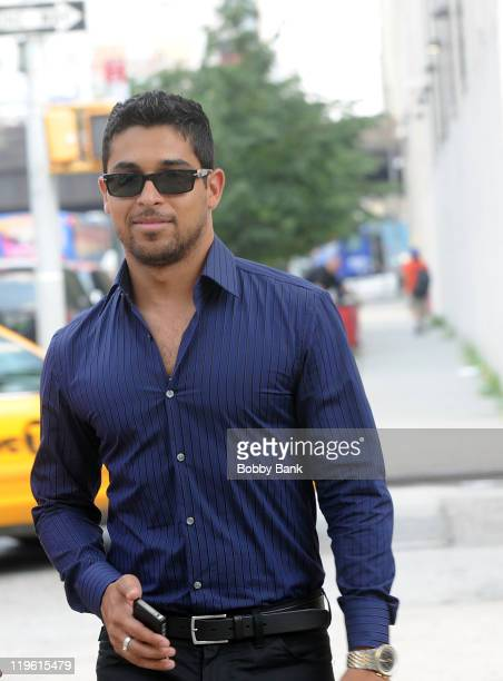 Actor Wilmer Valderrama seen on location for 'Royal Pains' on the streets of Manhattan on July 22 2011 in New York United States