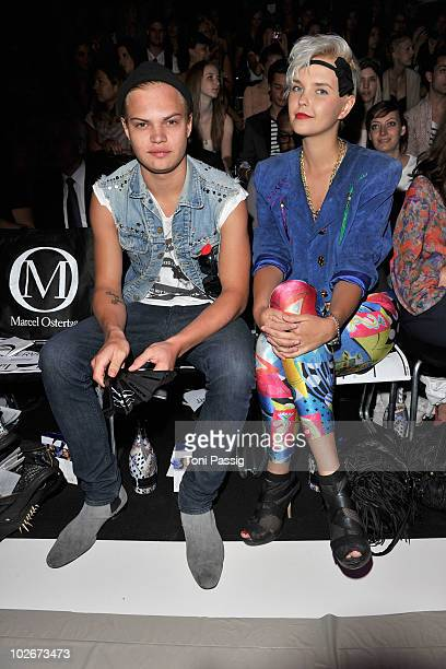 Actor Wilson Gonzalez Ochsenknecht and partner Bonnie Strange pose in front row at the Marcel Ostertag Show during the Mercedes Benz Fashion Week...