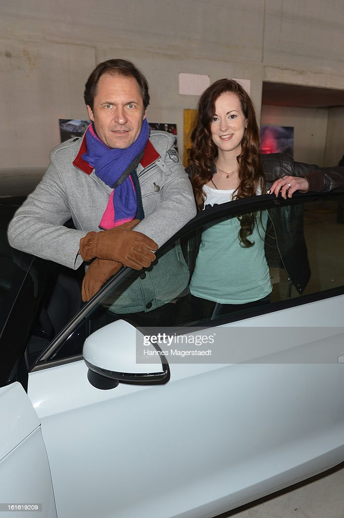 Actor Winfried Frey and actress Isabella Jantz attend the roofing ceremony at Audi second-hand car center on February 13, 2013 in Munich, Germany.