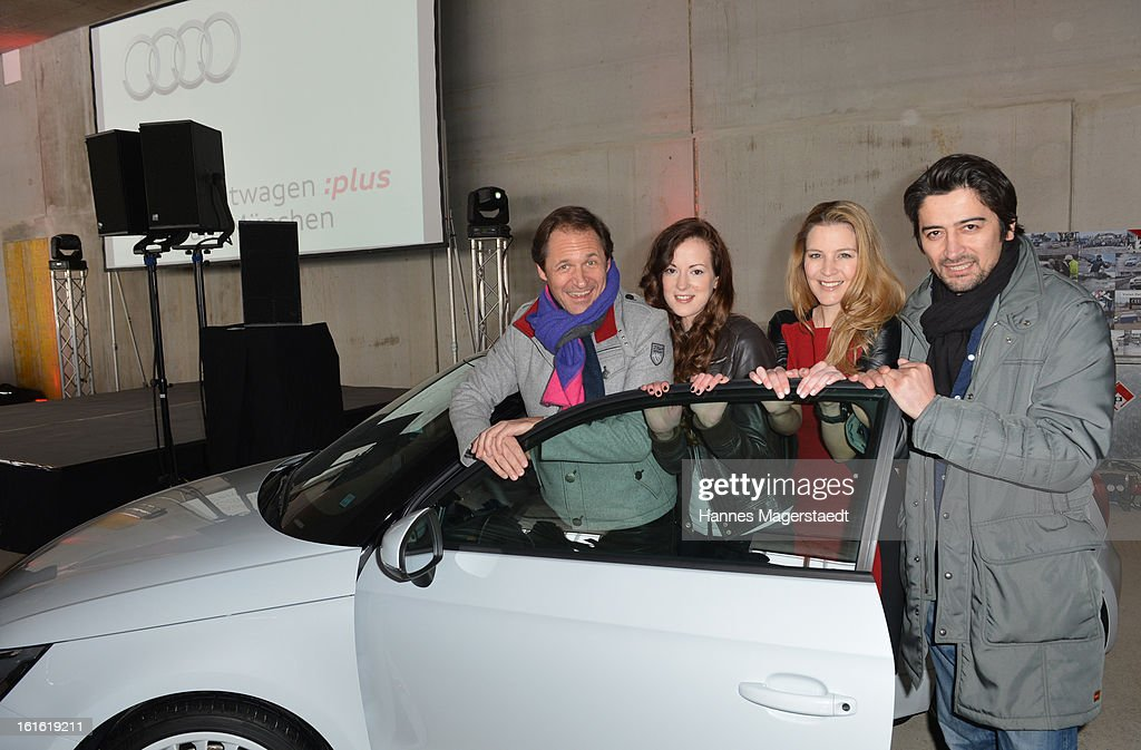 Actor Winfried Frey, Viola Weiss, actress Isabella Jantz and actor Adrian Can attend the roofing ceremony at Audi second-hand car center on February 13, 2013 in Munich, Germany.