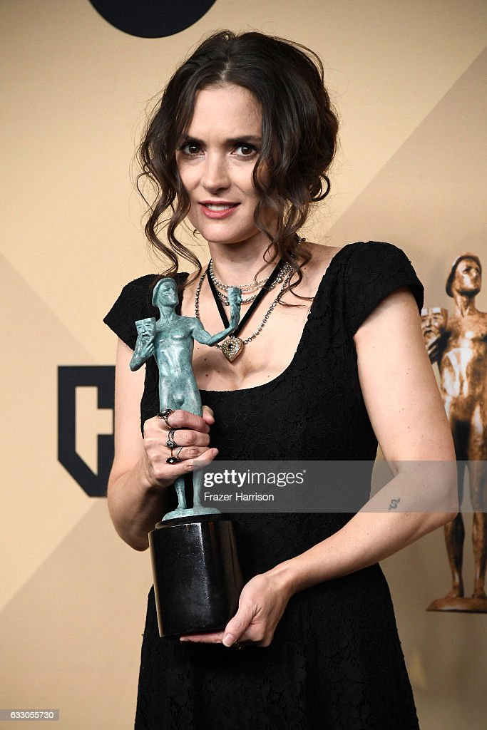 Actor Winona Ryder, co-recipient of the Outstanding Performance by an Ensemble in a Drama Series award for 'Stranger Things,' poses in the press room during The 23rd Annual Screen Actors Guild Awards at The Shrine Auditorium on January 29, 2017 in Los Angeles, California. 26592_008