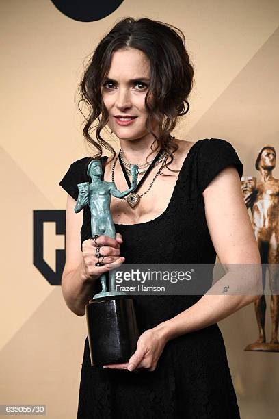 Actor Winona Ryder corecipient of the Outstanding Performance by an Ensemble in a Drama Series award for 'Stranger Things' poses in the press room...