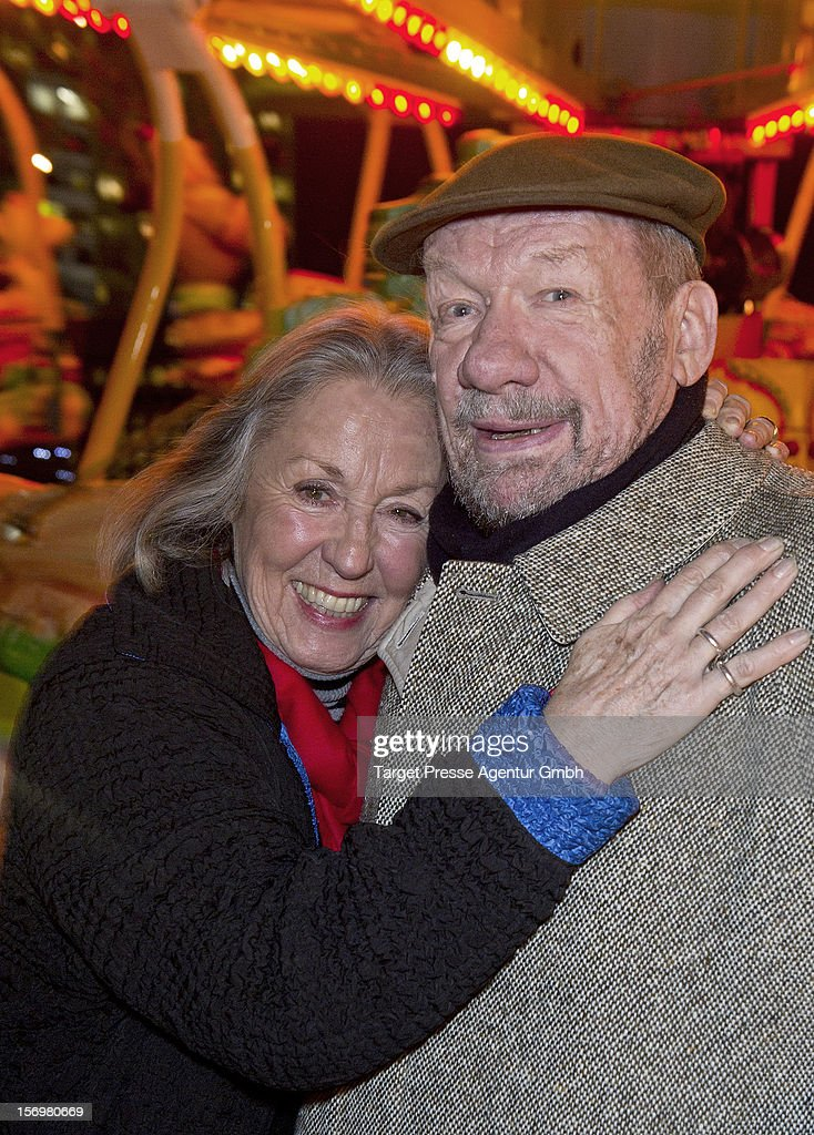 Actor Wolfgang Voelz and his wife Roswitha Voelz attend the 'Kartoffelpuffer-Brat-Charity' at the Berlin Christmas Market on November 26, 2012 in Berlin, Germany.