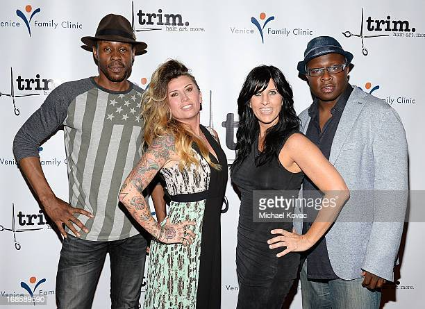 Actor Wood Harris Trim Salon coowners Nik Falco and Jaimee Bush and actor Steve Harris attend the Grand Opening of Trim Salon On Rose at Trim Salon...