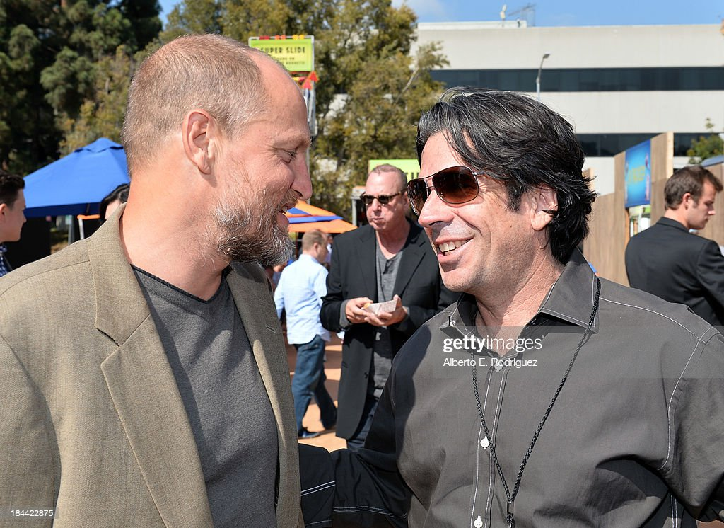 Actor <a gi-track='captionPersonalityLinkClicked' href=/galleries/search?phrase=Woody+Harrelson&family=editorial&specificpeople=208923 ng-click='$event.stopPropagation()'>Woody Harrelson</a> (L) and Chairman and CEO of Reel FX Steve O'Brien attend the premiere of Relativity Media's 'Free Birds' after party at the Westwood Village Theatre on October 13, 2013 in Hollywood, California.