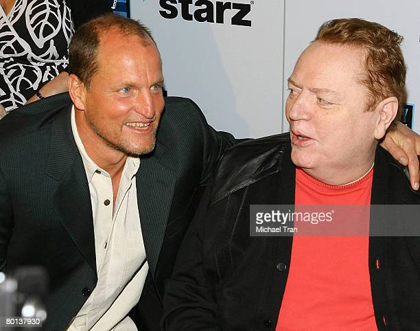 Actor Woody Harrelson and Hustler Magazine publisher Larry Flynt arrive at the Los Angeles premiere of Zak Penn's 'The Grand' held at the Arclight...