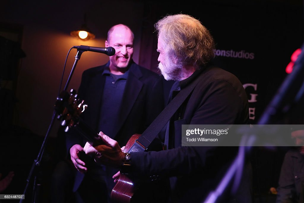 Actor Woody Harrelson (L) and musician Bob Weir perform onstage during the Amazon Studios celebration of 'Long Strange Trip' at the 2017 Sundance Film Festival, featuring a performance by Mickey Hart, Bill Kreutzmann, and Bob Weir, on January 22, 2017 in Park City, Utah.