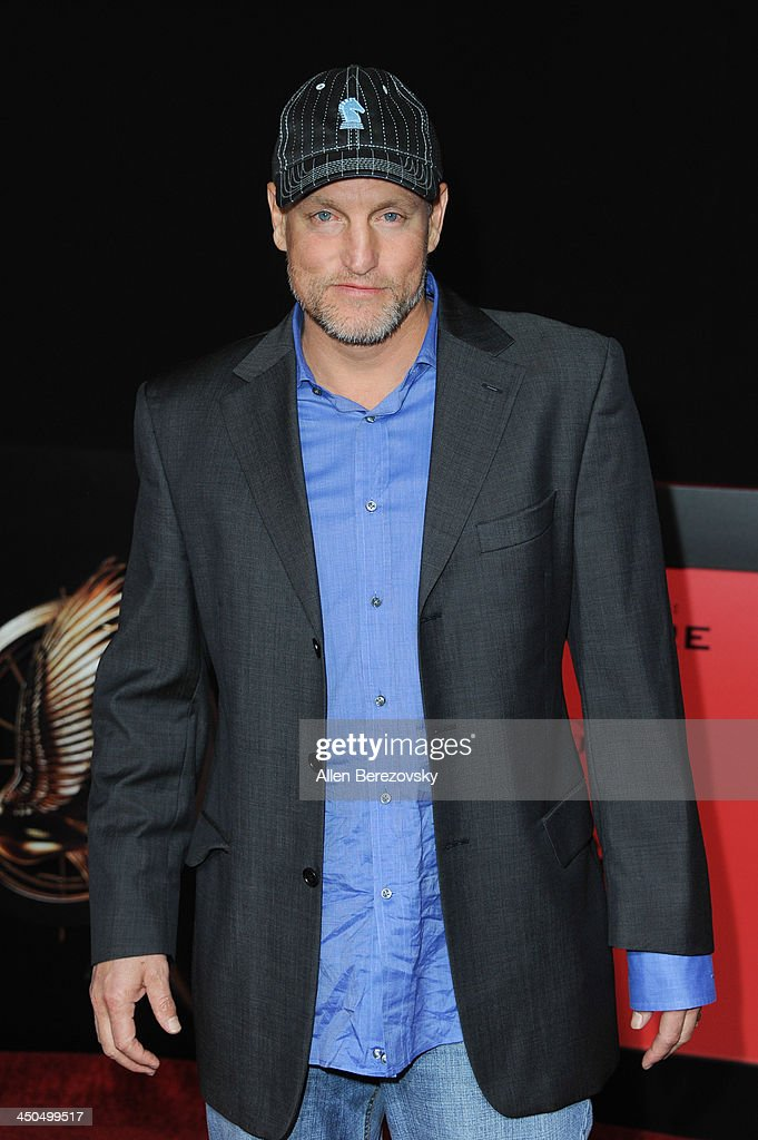 Actor <a gi-track='captionPersonalityLinkClicked' href=/galleries/search?phrase=Woody+Harrelson&family=editorial&specificpeople=208923 ng-click='$event.stopPropagation()'>Woody Harrelson</a> arrives at the Los Angeles Premiere of 'The Hunger Games: Catching Fire' at Nokia Theatre L.A. Live on November 18, 2013 in Los Angeles, California.