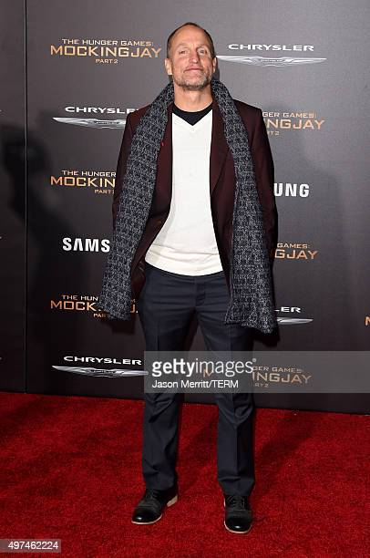 Actor Woody Harrelson attends the premiere of Lionsgate's 'The Hunger Games Mockingjay Part 2' at Microsoft Theater on November 16 2015 in Los...