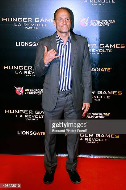 Actor Woody Harrelson attends the 'The Hunger Games Mockingjay Part 2' Paris Premiere at Le Grand Rex on November 9 2015 in Paris France