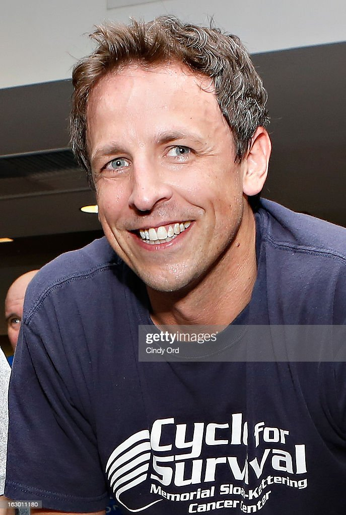 Actor/ writer Seth Meyers participates in the 2013 Cycle For Survival Benefit at Equinox Rock Center on March 3, 2013 in New York City.