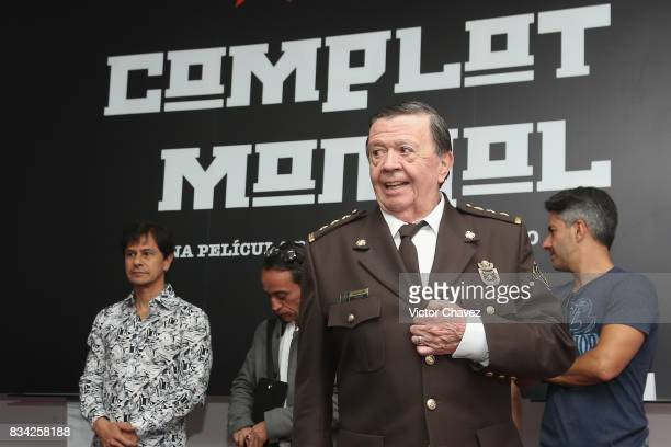 Actor Xavier Lopez 'Chabelo' attends a press conference and photocall to promote the film 'El Complot Mongol' at Club de Periodistas de Mexico on...