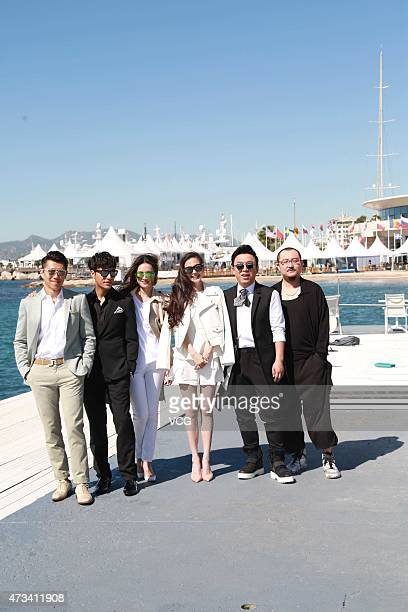 Actor Xia Yu actor Chen Kun actress Shu Qi model Angelababy actor Huang Bo and director Wu Ershan pose near Cannes beach during their promoting 'The...