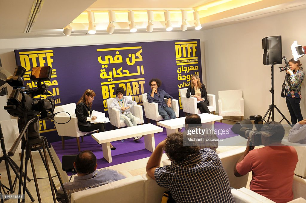 Actor Yanis Bahloul (2nd from L) and director Brahim Fritah (2nd from R) of 'Playground Chronicles' attend the Arab Discussion Press Conference during the 2012 Doha Tribeca Film Festival at the Al Mirqab Boutique Hotel on November 20, 2012 in Doha, Qatar.
