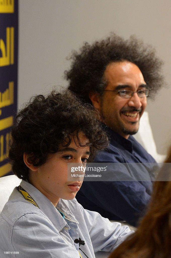 Actor Yanis Bahloul and director Brahim Fritah of 'Playground Chronicles' attend the Arab Discussion Press Conference during the 2012 Doha Tribeca Film Festival at the Al Mirqab Boutique Hotel on November 20, 2012 in Doha, Qatar.
