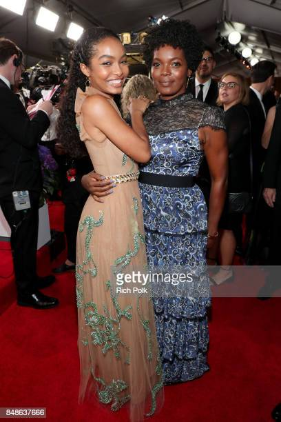Actor Yara Shahidi and Keri Shahidi walk the red carpet during the 69th Annual Primetime Emmy Awards at Microsoft Theater on September 17 2017 in Los...