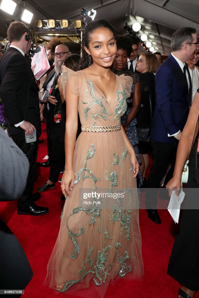 Actor Yara Shahidi walks the red carpet during the 69th Annual Primetime Emmy Awards at Microsoft Theater on September 17, 2017 in Los Angeles, California.