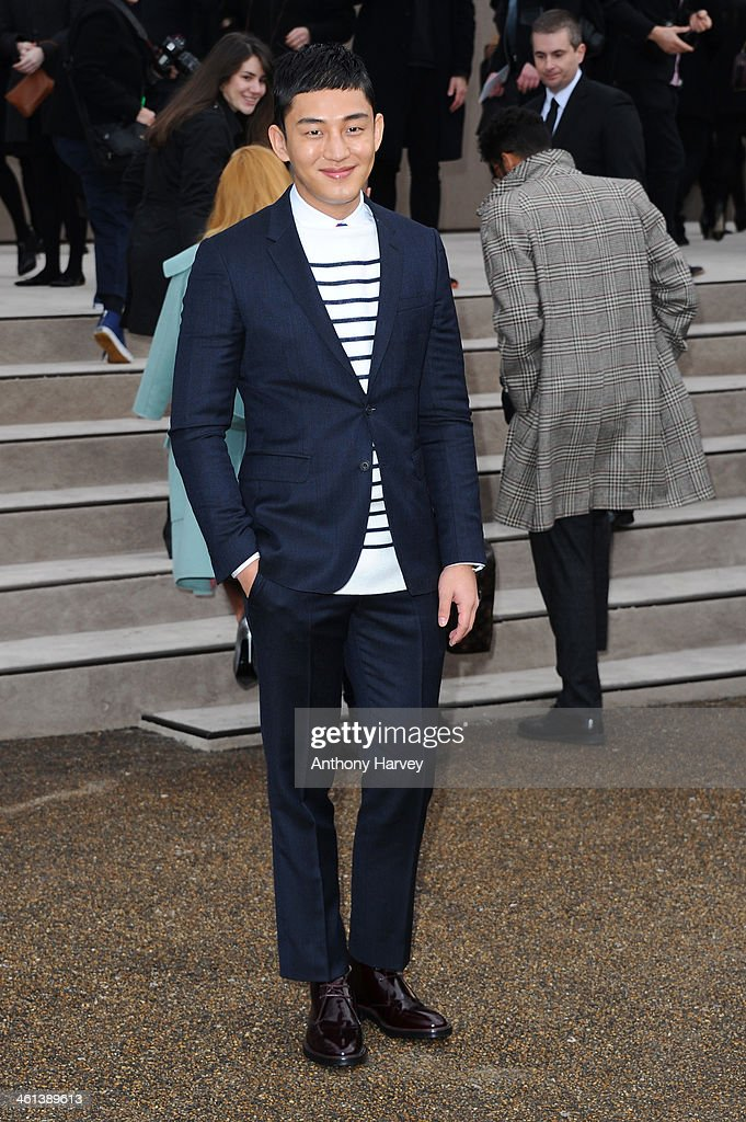 Actor Yu Ah In attends the Burberry Prorsum show during The London Collections: Men Autumn/Winter 2014 on January 8, 2014 in London, England.