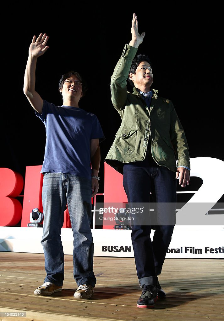 Actor Yu Jun-Sang attends Outdoor Greeting during the 17th Busan International Film Festival (BIFF) at Haeundae beach on October 12, 2012 in Busan, South Korea. The biggest film festival in Asia showcases 304 films from 75 countries and runs from October 4-13.