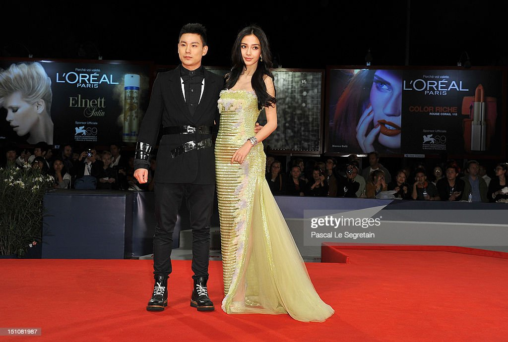 Actor Yuan Xiaochao and actress Angelababy attend the 'Tai Chi O' premiere during the 69th Venice Film Festival at the Palazzo del Cinema on August 31, 2012 in Venice, Italy.