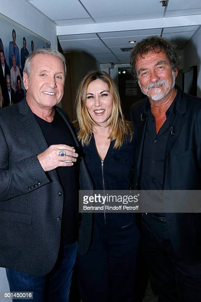 Actor Yves Renier Actress Mathilde Seigner and Main Guest of the Show actor Olivier Marchal attend the 'Vivement Dimanche' French TV Show at Pavillon...
