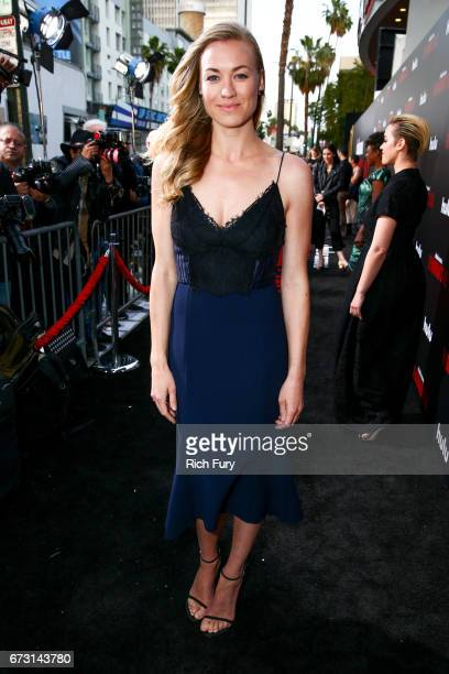 Actor Yvonne Strahovski attends the premiere of Hulu's 'The Handmaid's Tale' at ArcLight Cinemas Cinerama Dome on April 25 2017 in Hollywood...