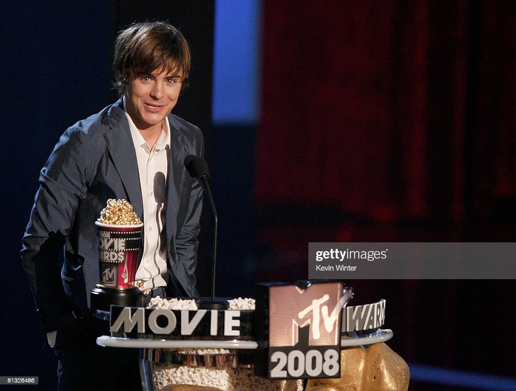 Actor Zac Efron accepts the award for Breakthrough Performance for 'Hairspray' during the 17th annual MTV Movie Awards held at the Gibson...