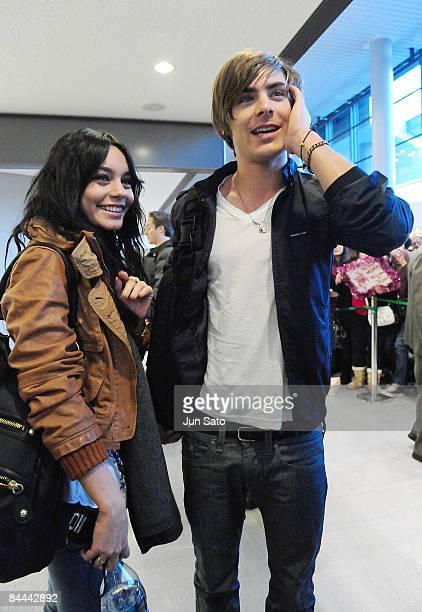 Actor Zac Efron and actress Vanessa Hudgens arrive at Narita International Airport on January 25 2009 in Narita Chiba Japan