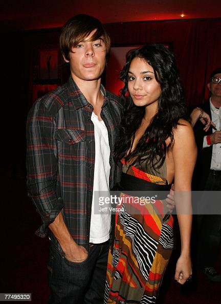Actor Zac Efron and actress Vanessa Hudgens inside the Frederick's of Hollywood 2008 Spring collection fashion show to benefit Clothes off our Back...