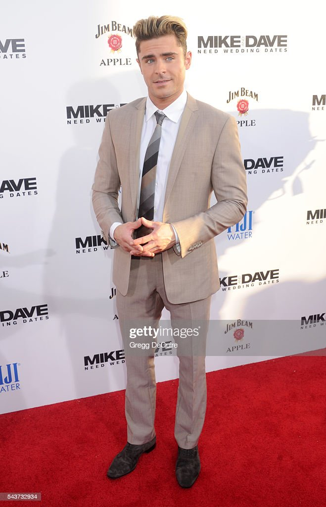 Actor Zac Efron arrives at the premiere of 20th Century Fox's 'Mike And Dave Need Wedding Dates' at the Cinerama Dome at ArcLight Hollywood on June...