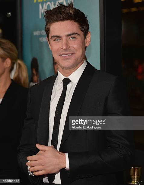 Actor Zac Efron arrives to the premiere of Focus Features' 'That Awkward Moment' at Regal Cinemas LA Live on January 27 2014 in Los Angeles California