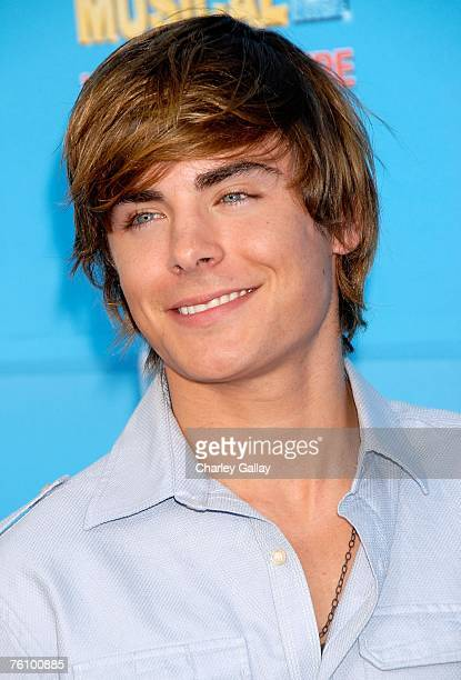 Actor Zac Efron arrives to the world premiere of Disney Channel's 'High School Musical 2' held at the Downtown Disney District at Disneyland Resort...