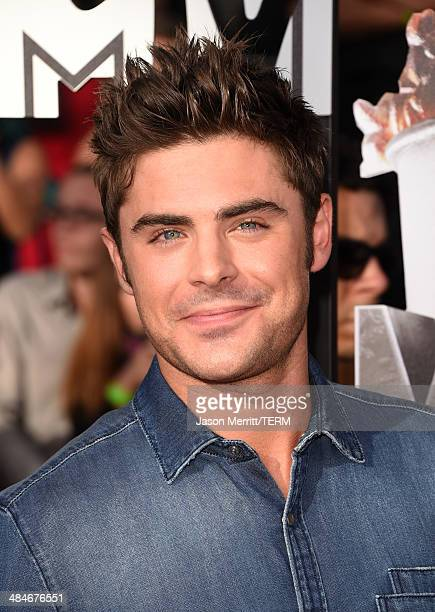 Actor Zac Efron attends the 2014 MTV Movie Awards at Nokia Theatre LA Live on April 13 2014 in Los Angeles California