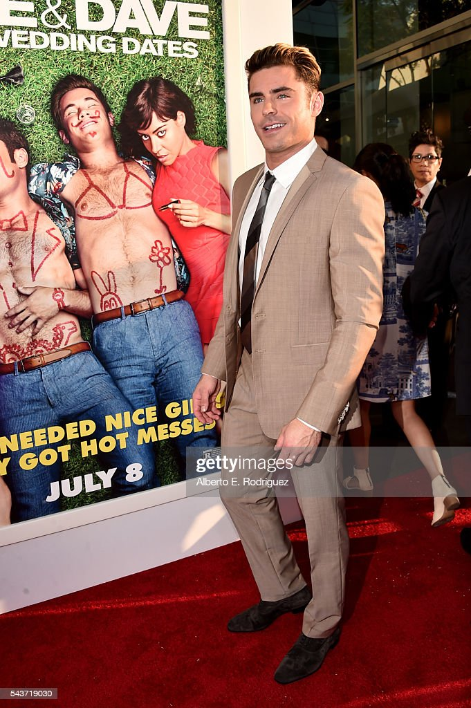Actor Zac Efron attends the premiere of 20th Century Fox's 'Mike and Dave Need Wedding Dates' at ArcLight Cinemas Cinerama Dome on June 29 2016 in...