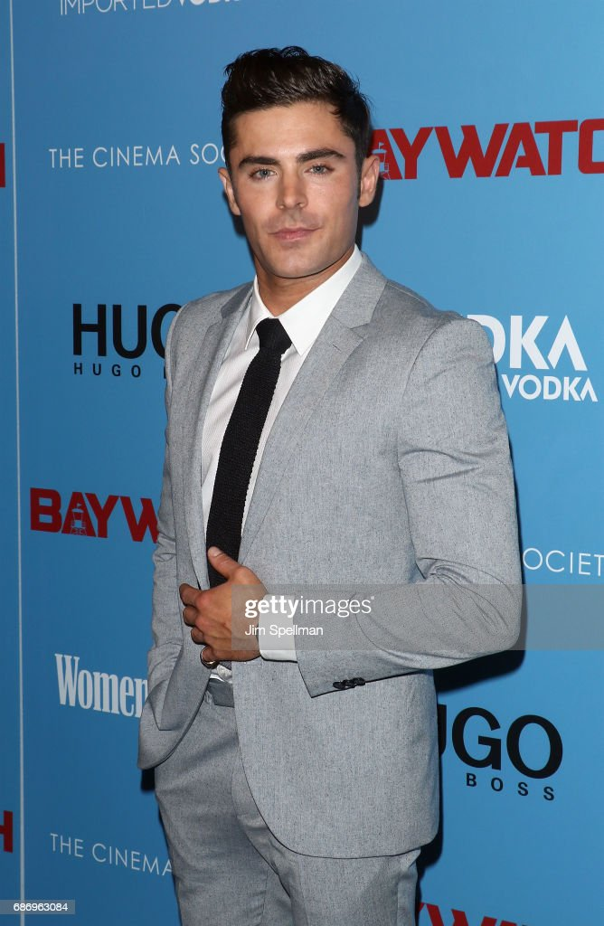Actor Zac Efron attends the screening of 'Baywatch' hosted by The Cinema Society at Landmark Sunshine Cinema on May 22, 2017 in New York City.