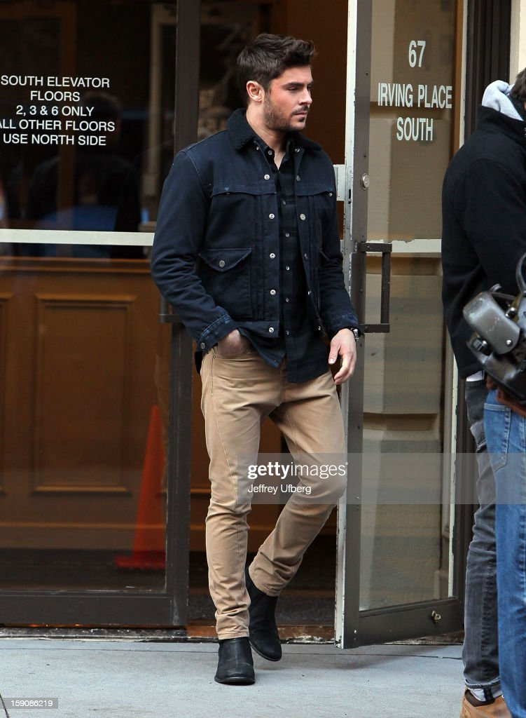 Actor <a gi-track='captionPersonalityLinkClicked' href=/galleries/search?phrase=Zac+Efron&family=editorial&specificpeople=533070 ng-click='$event.stopPropagation()'>Zac Efron</a> filming on location for 'Are We Officially Dating?' on January 7, 2013 in New York City.