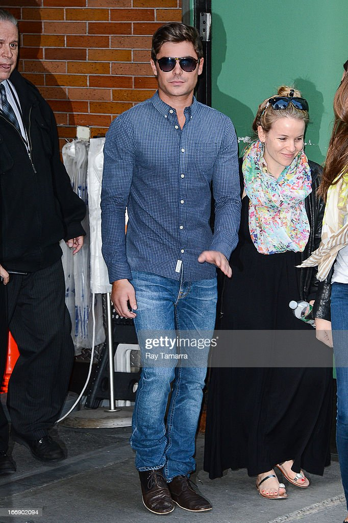 Actor <a gi-track='captionPersonalityLinkClicked' href=/galleries/search?phrase=Zac+Efron&family=editorial&specificpeople=533070 ng-click='$event.stopPropagation()'>Zac Efron</a> leaves the 'Good Morning America' taping at the ABC Times Square Studios on April 18, 2013 in New York City.