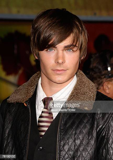 Actor Zac Efron pose at the DVD release of Disney Channels' 'High School Musical 2 Extended Edition' at The El Capitan Theatre on November 19 2007 in...